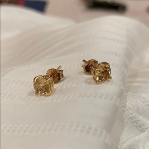 Gold stud earrings diamond cut citrine stones